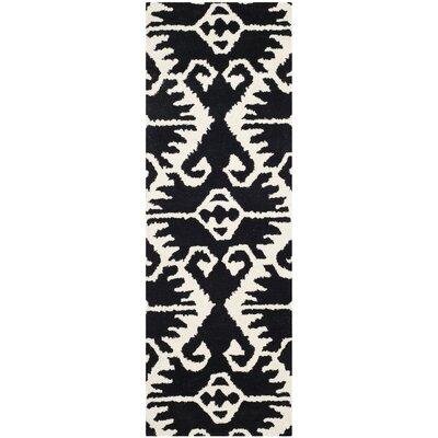 Kouerga Black & Ivory Area Rug Rug Size: Runner 23 x 7