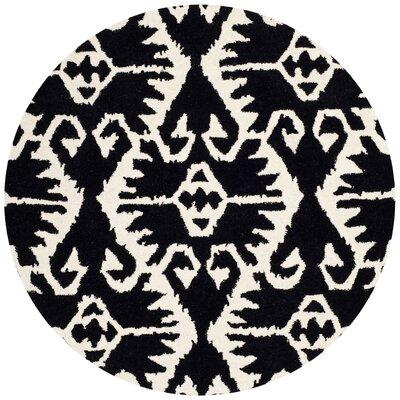 Kouerga Black & Ivory Area Rug Rug Size: Round 7