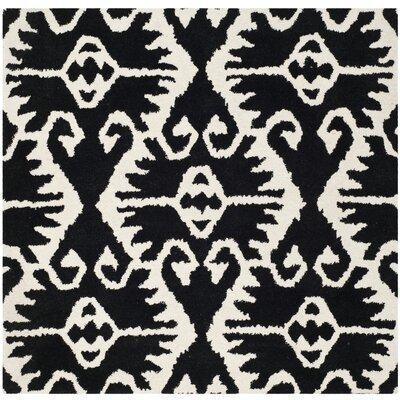 Kouerga Black & Ivory Area Rug Rug Size: Square 7
