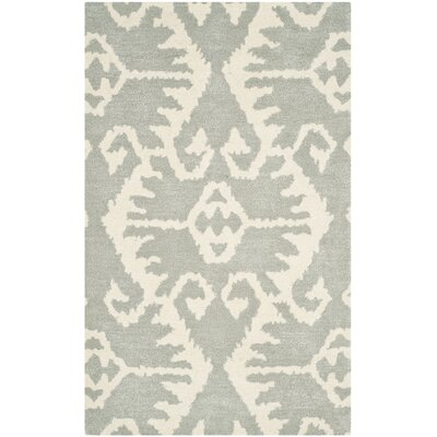 Kouerga Gray/Ivory Area Rug Rug Size: 4 x 6
