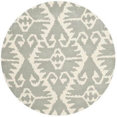 Kouerga Gray/Ivory Area Rug Rug Size: Round 5