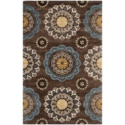 Kouerga Eggplant Brown Area Rug Rug Size: Rectangle 4 x 6