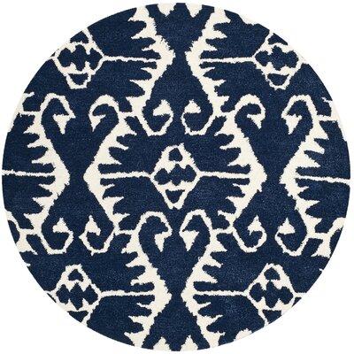Kouerga Royal Blue/Ivory Rug Rug Size: Round 5