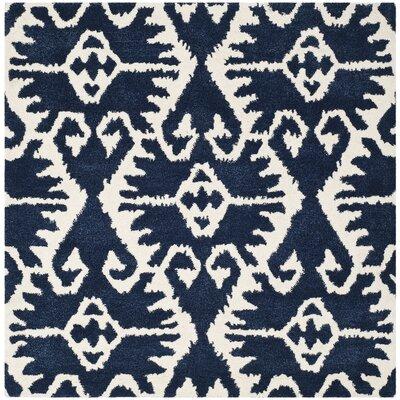 Kouerga Royal Blue/Ivory Rug Rug Size: Square 5