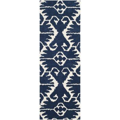 Kouerga Royal Blue/Ivory Rug Rug Size: Runner 23 x 7