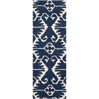 Kouerga Royal Blue/Ivory Rug Rug Size: Runner 23 x 9
