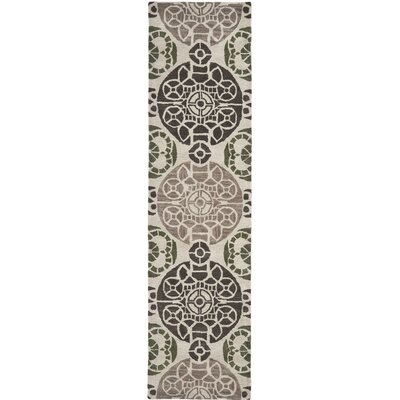 Kouerga Hand-Tufted Ivory/Brown Area Rug Rug Size: Runner 23 x 9