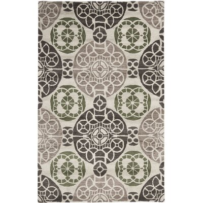 One-of-a-Kind Kouerga Hand-Tufted Wool Ivory/Brown Area Rug Rug Size: Rectangle 5 x 8