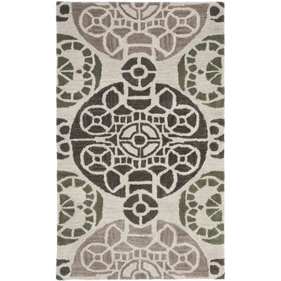 Kouerga Hand-Tufted Ivory/Brown Area Rug Rug Size: Rectangle 5 x 8