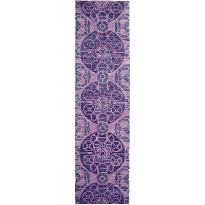 One-of-a-Kind Kouerga Hand-Tufted Wool Purple Area Rug Rug Size: Runner 23 x 9