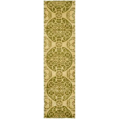 Kouerga Hand-Tufted Yellow Area Rug Rug Size: Runner 23 x 9
