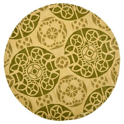 Kouerga Honey / Green Rug Rug Size: Round 7