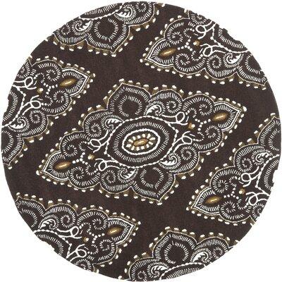 Kouerga Brown / Ivory Rug Rug Size: Round 7'