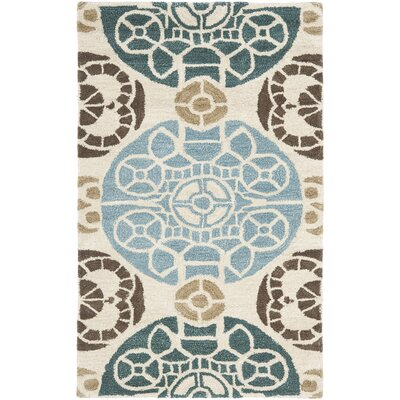 Kouerga Hand-Tuffed Wool Blue/Beige Area Rug Rug Size: Rectangle 4 x 6