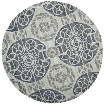 Kouerga Hand-Tufted Silver/Gray Area Rug Rug Size: Round 7