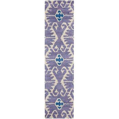 Kouerga Hand-Tufted Wool Lavender/Ivory Area Rug Rug Size: Runner 23 x 9