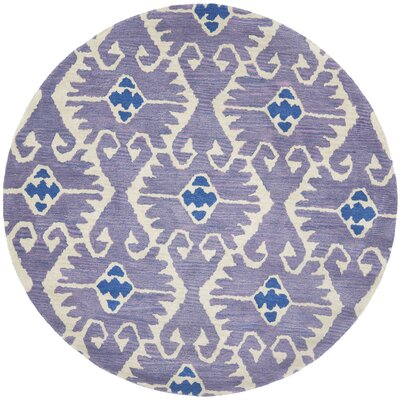 Kouerga Hand-Tufted Wool Lavender/Ivory Area Rug Rug Size: Round 7