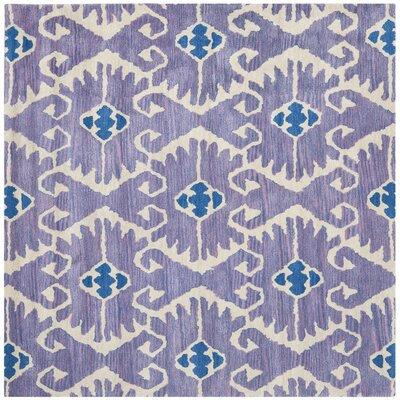 Kouerga Hand-Tufted Wool Lavender/Ivory Area Rug Rug Size: Square 5