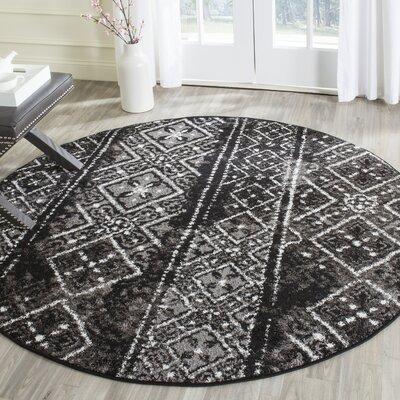 Vanek Black/Silver Area Rug Rug Size: Round 6
