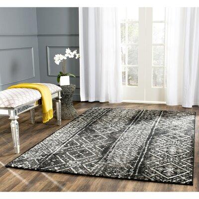 Vanek Black/Silver Area Rug Rug Size: 51 x 76