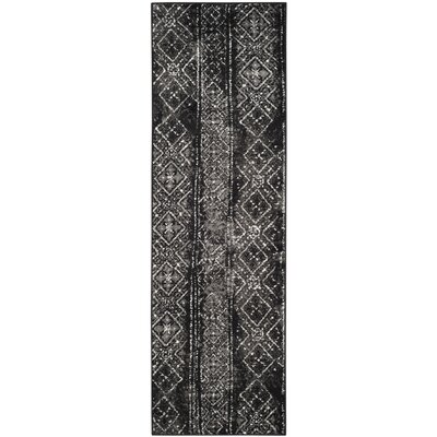 Meadors Black/Silver Area Rug Rug Size: Runner 26 x 8