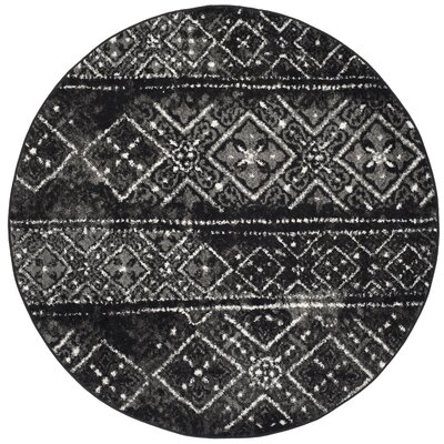Meadors Black/Silver Area Rug Rug Size: Round 6