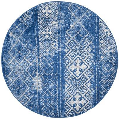 Vanek Silver & Blue Area Rug Rug Size: Round 6