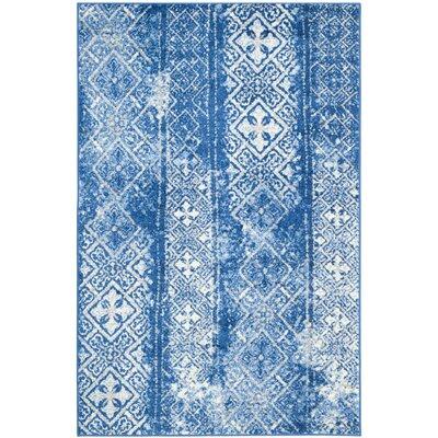 Vanek Silver & Blue Area Rug Rug Size: 51 x 76