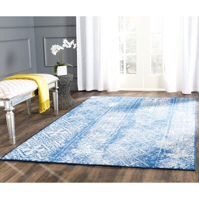 Vanek Silver & Blue Area Rug Rug Size: Square 6
