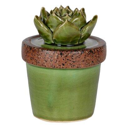 Ceramic Echeveria  Plant Sculpture in Green Pot Size: 5