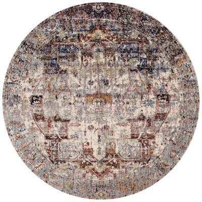 Potter Ivory/Brown Area Rug Rug Size: Round 96