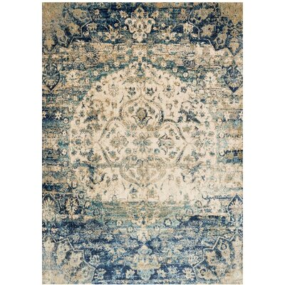 Potter Beige/Blue Area Rug Rug Size: Rectangle 67 x 92
