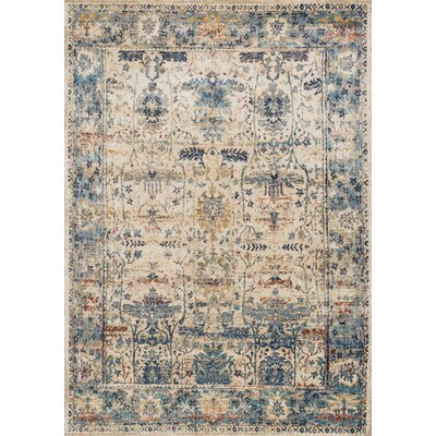 Harrington Ivory/Blue Area Rug Rug Size: Round 96