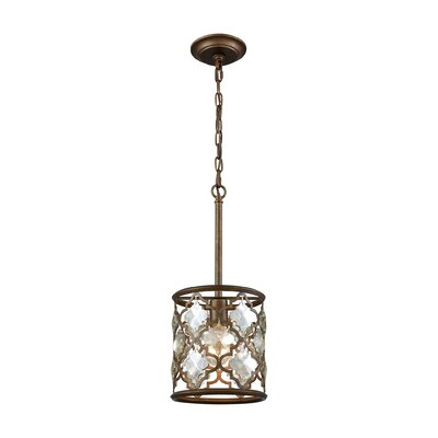 Elishia 1-Light Mini Pendant Finish: Weathered Bronze/Champagne Plated