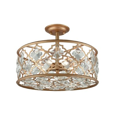 Elishia 4-Light Semi Flush Mount Finish: Matte Gold/Clear