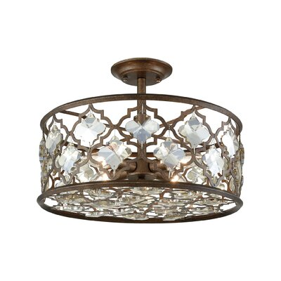 Elishia 4-Light Semi Flush Mount Finish: Weathered Bronze/Champagne Plated