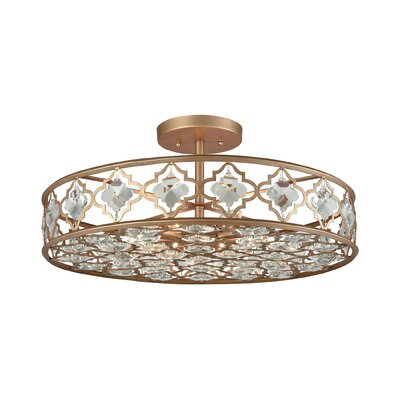 Elishia 8-Light Semi Flush Mount Finish: Matte Gold/Clear