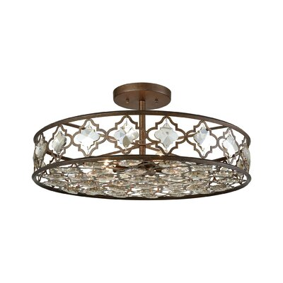 Rivers 8-Light Semi Flush Mount Finish: Weathered Bronze/Champagne Plated