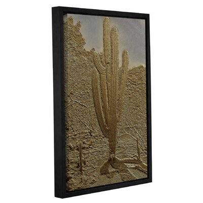 'Bronze Saguaro' Framed Graphic Art Print on Canvas Size: 12