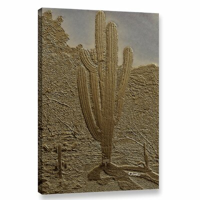 'Bronze Saguaro' Graphic Art Print on Canvas Size: 12