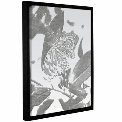 'Midnight Butterfly Silver' Framed Graphic Art Print on Canvas Size: 10