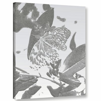 'Midnight Butterfly Silver' Graphic Art Print on Canvas Size: 10