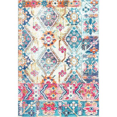 Hines Blue Area Rug Rug Size: Rectangle 53 x 77