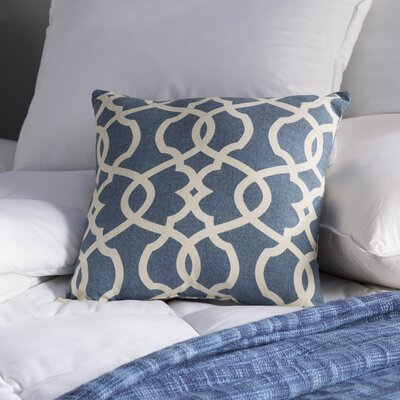 Brennan Damask Throw Pillow Size: 24.5 H x 24.5 W x 5 D, Color: Blue
