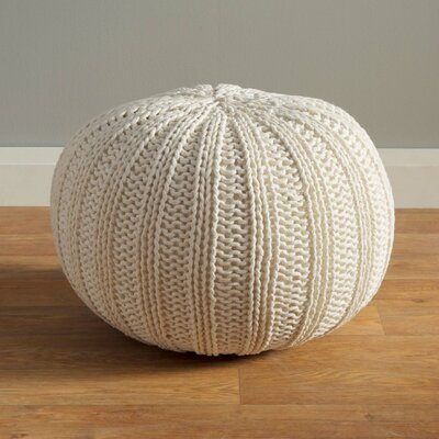 Gilmour Hand Knitted Traditional Pouf Ottoman Upholstery: Bone