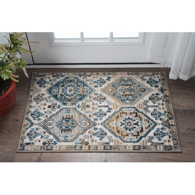 Joe Transitional Blue/Beige Area Rug Rug Size: 2 x 3