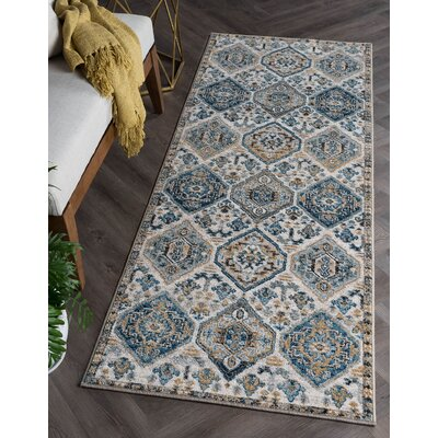 Joe Transitional Blue/Beige Area Rug Rug Size: Runner 27 x 73