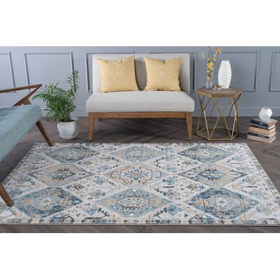Joe Transitional Blue/Beige Area Rug Rug Size: 53 x 73