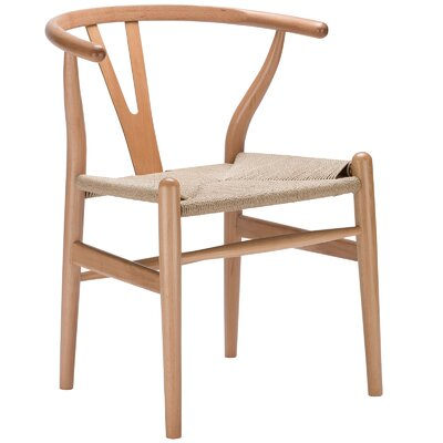 Khalil Solid Wood Dining Chair (Set of 2) Finish: Natural