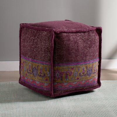 Gina Cube Pouf Ottoman Upholstery: Eggplant